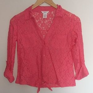 Coral Red Lace Button Down Shirt
